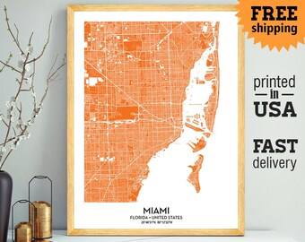 Miami Map Print Wall Art, Miami City Print, Miami Poster, Personalized Wedding Map Art Gift For Couple, Custom city map