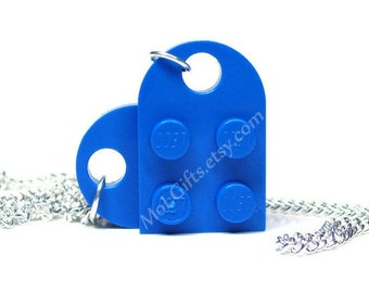 Brilliant Blue Heart Necklace made from LEGO® Heart Pieces