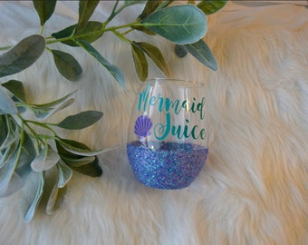 Mermaid Juice Glitter Dipped Wine Glass // Mermaid Wine Glass // Glitter Wine glass