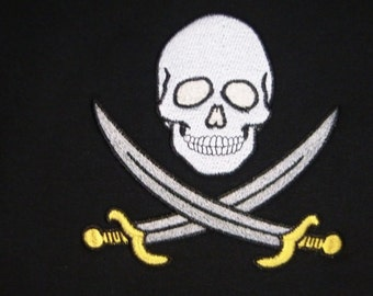Sweatshirt Child Size PIRATE SKULL and SWORDS Embroidered Hooded Hoodie - Made to Order