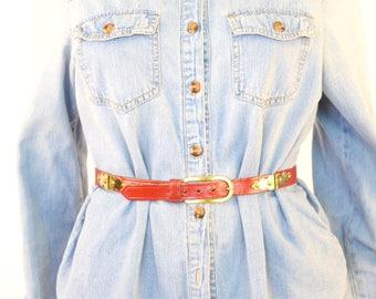 Vintage Red Leather Belt with Gold Hardware