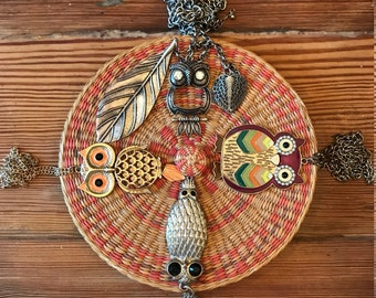 4 Assorted boho, hippie chick owl necklaces, your choice!