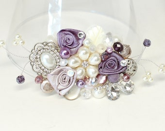 Bridal Hair Comb- Purple Hair Accessory- Bridal Hairpiece- Purple Wedding Comb- Eggplant Hair Comb- Wedding Hair Accessory-Purple Fascinator