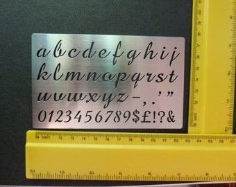 Stainless Steel Stencil Oblong Lower Case Alphabet Emboss Small