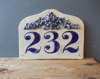 Large Custom House Number / Home decor / Door Number / Yard Decor / Vintage decor / Door Plaque / Numerals / Blue sign / House Sign