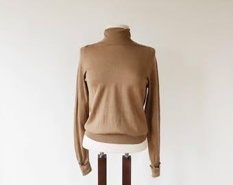 Vintage Tan Cotton Silk Sweater - Camel Brown Turtleneck