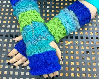 NEW LISTING! Blue and Green Fingerless Gloves