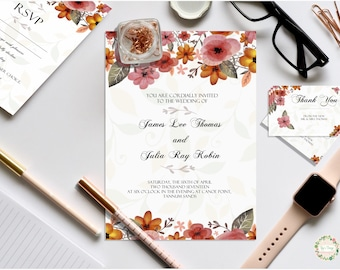 Floral Wedding Invites, Thank you notes and Rsvp cards, custom digital prints