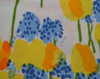 Vintage Vera Neumann Tablecloth 82 x 60, 1960's, Orange, Blue, Yellow Flowers