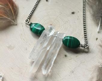 Malachite & Quartz Crystal Necklace