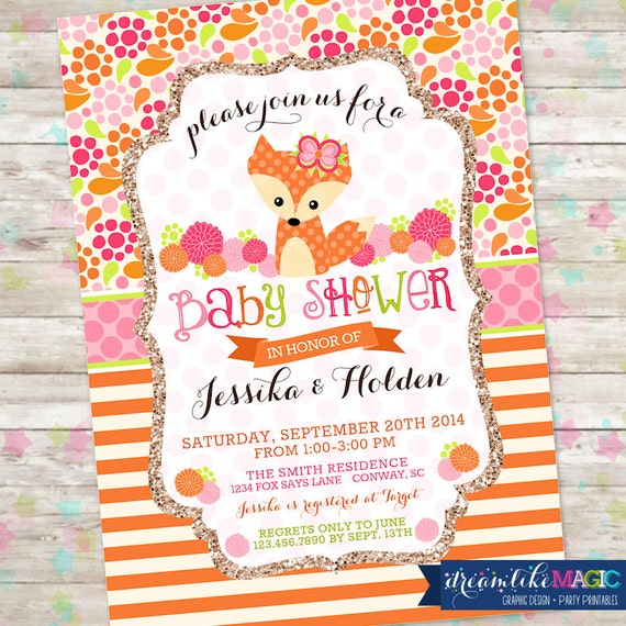 Fox Baby Shower Woodland Baby Shower Baby Girl Shower