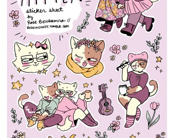 smitten mitten 4 x 6 sticker sheet // 7 vinyl stickers