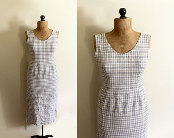 vintage dress 90's minimalist plaid beige tan sleeveless shift 1990s womens clothing