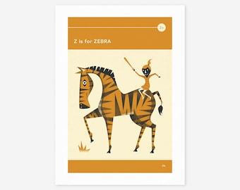 Z is for ZEBRA (Giclée Fine Art Print/Photo Print/Poster Print) by Jazzberry Blue