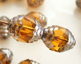 Czech Glass Cathedral Beads Wavy 10x8mm Fire Polish Topaz with Silver (Qty 6) SRB-10x8FP-CW-TOP-S