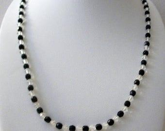 ON SALE Vintage 1950s Czech Glass Black Clear Long Necklace 51117