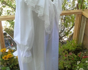 Victorian Lace White Cotton Nightgown Bridal Wedding Honeymoon Lingerie Honeymoon