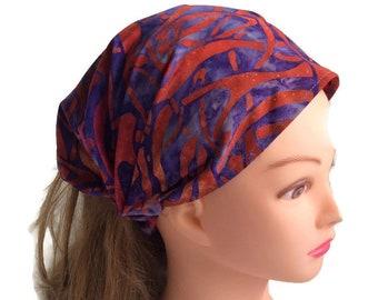 Red purple batik bandana headband, boho hair wrap, hair loss cover, extra wide women head scarf, yoga workout headband, alopecia hair scarf