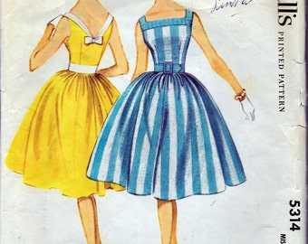 """Vintage 1960 McCall's 5314 Sleeveless Dress Sewing Pattern Size 12 Bust 32"""""""