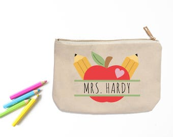 Personalized Apple Teacher Pencil Pouch // Custom Personalized Teacher Appreciation Gift School Pencil Bag