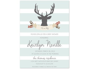 Baby Shower Invitation With Deer Head - 5x7