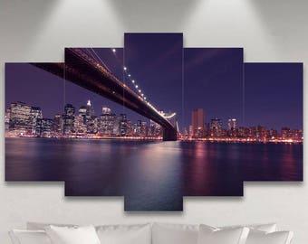 Metal Prints - New York - Lit Up At Night 3 - Wall Decor