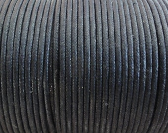 2mm Black Waxed Cotton Cord - 5 Yard Increments