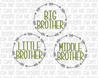SVG DXF PNG cut file cricut silhouette cameo scrap booking Big Brother Middle Brother Little Brother