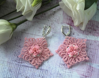 Tatting lace wedding earrings everyday gift for her