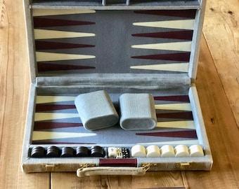 Vintage Backgammon Suitcase Game Gray Maroon Corduroy