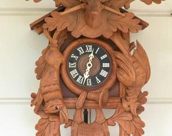 German Cuckoo Clock, Vintage Black Forest German Clock