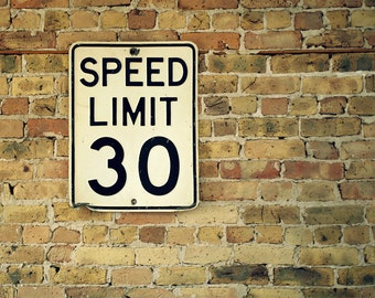 original vintage speed limit 30 road sign