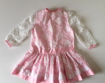 1980's Pink & Lace Party Dress (4t)
