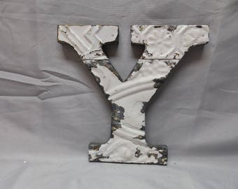 "Tin Ceiling Wrapped 8"" Letter ""Y"" White Patchwork Reclaimed Metal Mosaic Wall Hanging 343-18P"