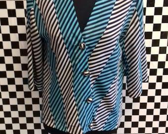 Blue silky feel 80's striped vintage blouse - M/L