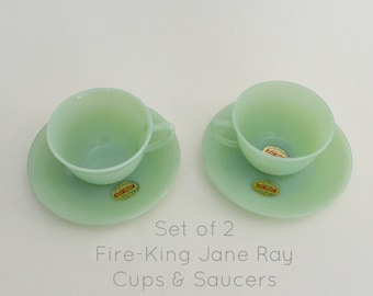 Set of 2 Fire-King Jane Ray Cups & Saucers with Original Stickers #0030
