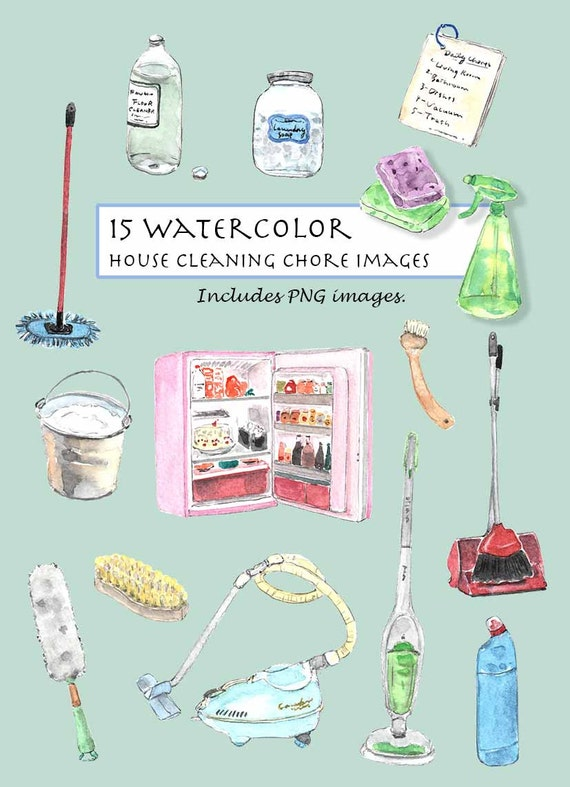 Clip Art Watercolor Vintage House Cleaning Chores Set 15