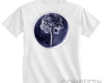 Palm In Moon T-Shirt - Men's and Ladies Sizes Available - Charleston - South Carolina  - SC Flag Palm Moon - SC Father's Day Gift