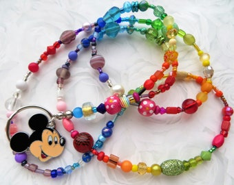 RAINBOW MICKEY- Beaded ID Lanyard- A Kaleidoscope of Beads- Lampwork, Millefiore, Pearls, Crystals, and Mickey Mouse Charm (Comfort Created)