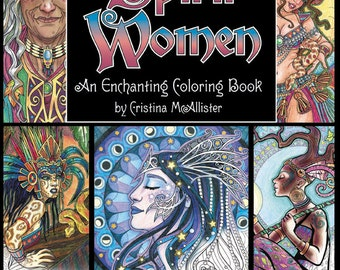 Spirit Women; An Enchanting Coloring Book; Digital Download Edition, Adult Coloring Book, Digital Coloring Pages, Printable Coloring Pages