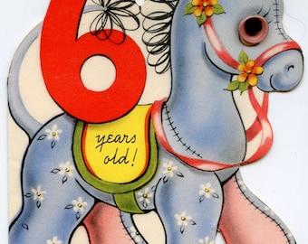 Vintage horse birthday card etsy 1950s vintage birthday card 6 years old calico pony wiggle eye blue bookmarktalkfo Choice Image