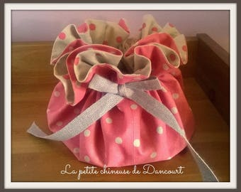 Coral purse with polka dots linen
