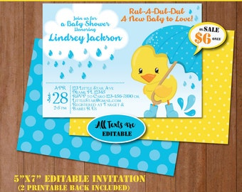 Duck baby shower etsy rubber duck baby shower invitation self editing rubber ducky baby shower invite printable filmwisefo Image collections