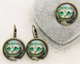 Cheshire Cat SET earrings and ring