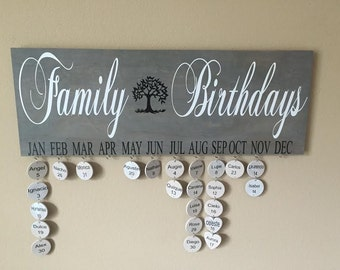 Family Tree, Family Sign, Family Birthday Board,  Celebration Board, Personalized gift, Mothers day gift, Anniversary Gift