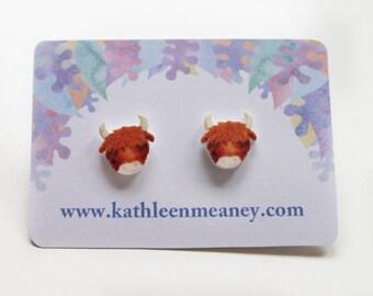 Highland cow stud animal earrings