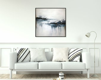 Large Wall Art Original Abstract Painting/ Large Black And White Wall Art Canvas Acrylic Painting Textured Wall Art/ Modern Art/Christovart