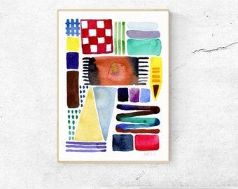 Abstrakte Aquarell. Abstrakte Wandkunst. Aquarell-Kunstwerk. Moderne minimalistische Wandkunst. Farbenfrohe Kunstdruck. Minimalistische Kunstdruck.
