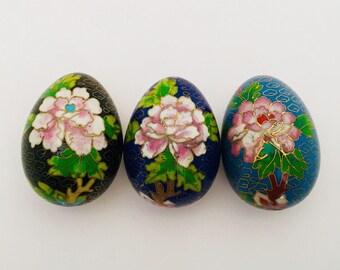 Chinese Cloisonné Enamel Eggs.