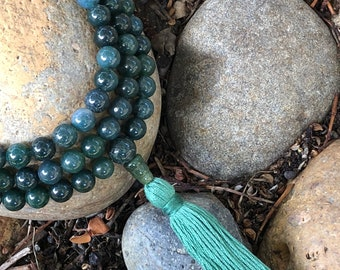 Mala Necklace - Moss Agate Full Mala